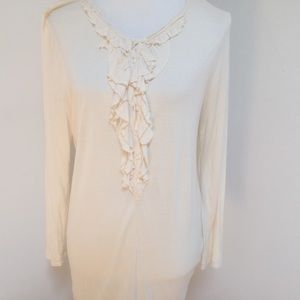JCrew ivory long sleeves front ruffles tee
